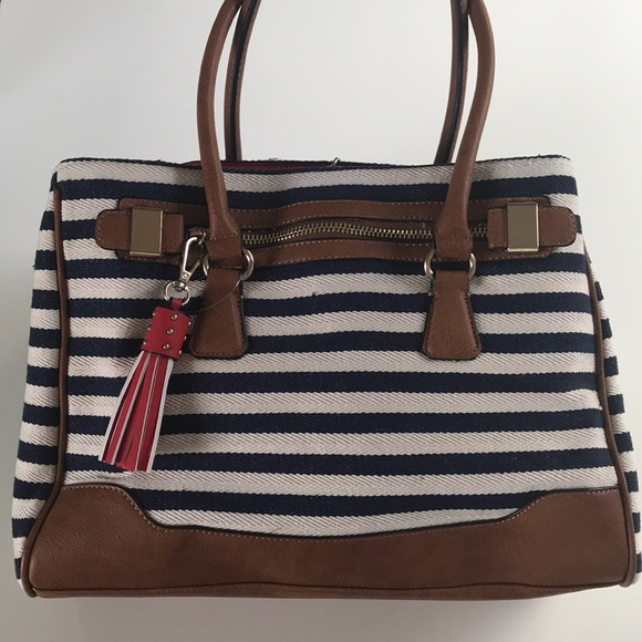 bb0725751045 NWOT Nautical Canvas and Leather Work Tote